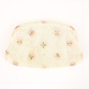 Vintage Beaded Hand Stitched Flower Purse Clutch